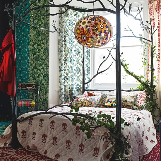 Vintage Style Kitchen Rugs And Why I Didn T Go Actual: Woodland Bedroom With Iron Four-poster Bed