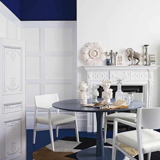 Blue Dining Room Decoration: Royal Blue And White Dining Room