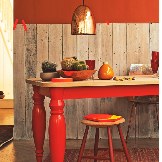 Dining Room Orange: Fiery Red And Orange Dining Room