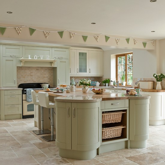 Green Kitchen: Sage And Cream Shaker-style Kitchen