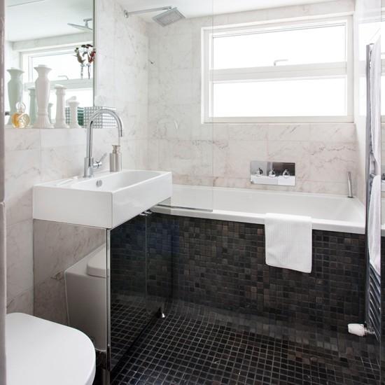 Tiled Bathroom Ideas Pictures: Monochrome Marble Tiled Bathroom