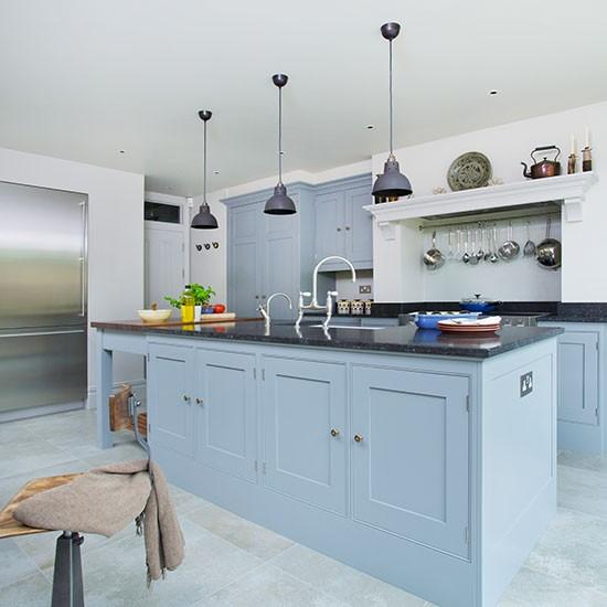 Painted Kitchen Island Ideas: Blue Grey Kitchen Island