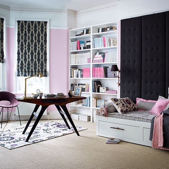 Office Guest Bedroom Ideas: Pink And Charcoal Home Office
