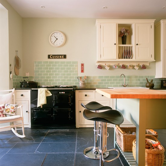 Modern country kitchen with green tiles | Green kitchen ...