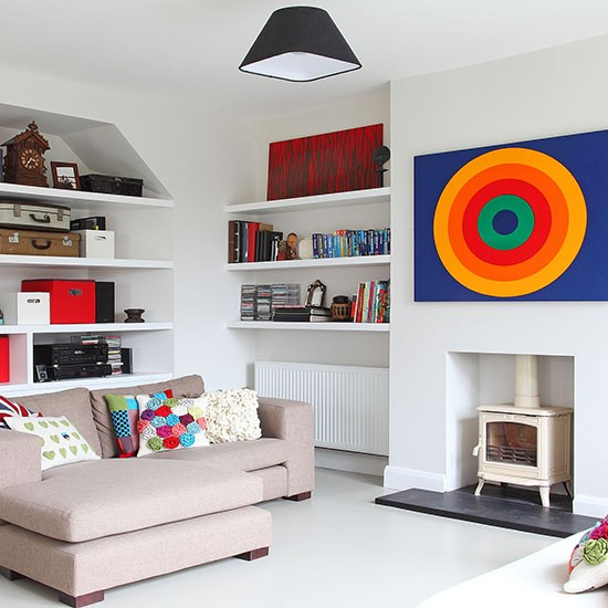 Open Plan Living Room Decor: Open-plan White Living Room With Modern Art Feature Wall