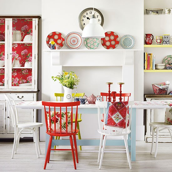 Boho Red And White Dining Room