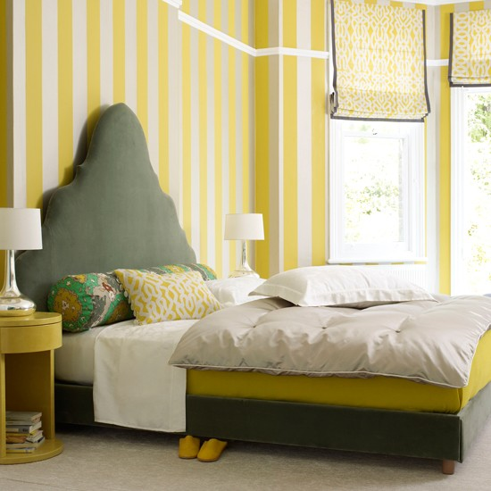 Bedroom With Striped Yellow Wallpaper