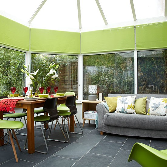 Conservatory With Lime Green Accents
