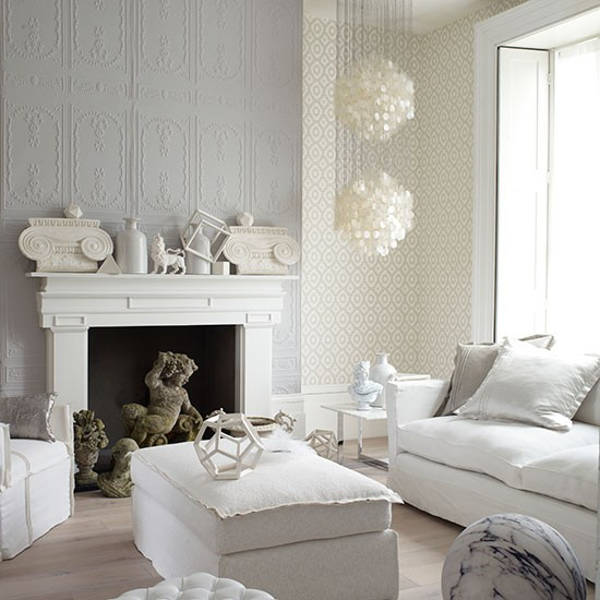 White Living Room: Decorative White And Grey Living Room