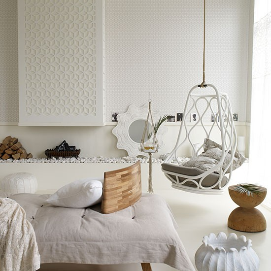 White living room with hanging chair living room - Hanging chair living room ...