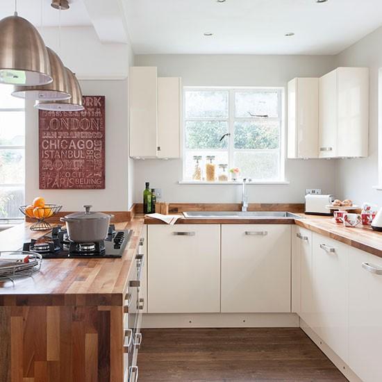 Cream And Woodblock Worktop Kitchen