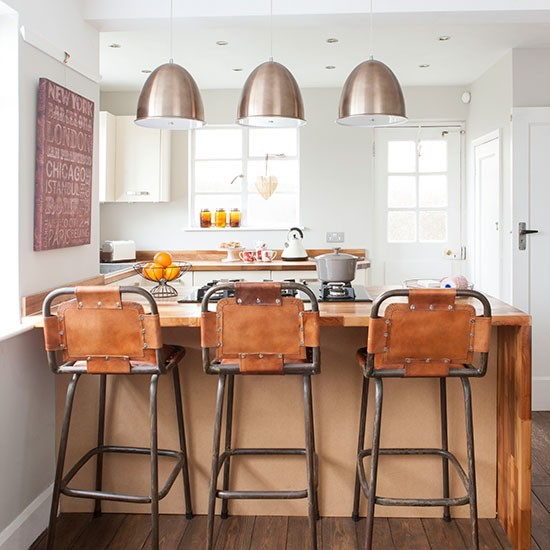 Industrial Kitchen With Bar Stools Kitchen Decorating