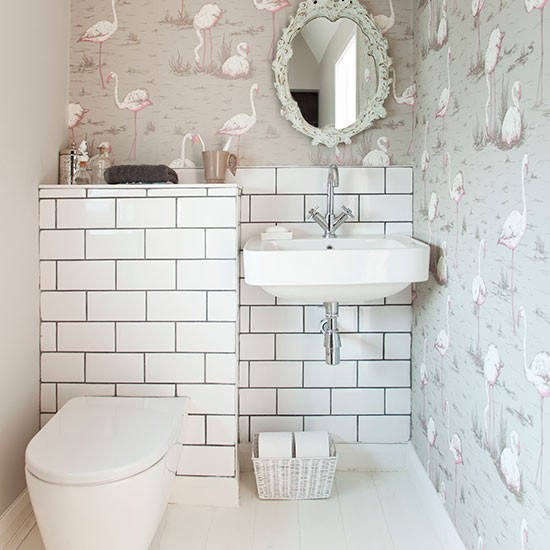 Bathroom Pictures For Wall Uk: Decorative Bathroom With Wallpaper