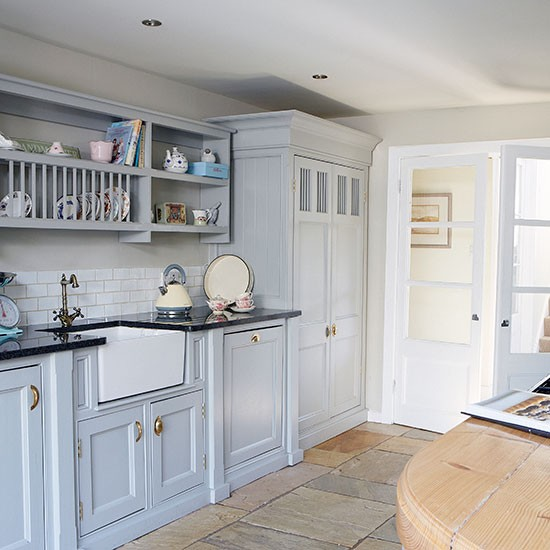 Country Kitchen With Painted Units And Belfast Sink
