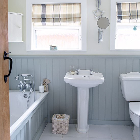Grey And White Country Bathroom With Wall Panels