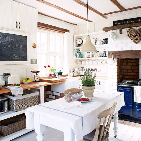 Country Home Interiors: White Country Kitchen Diner With Blue Aga
