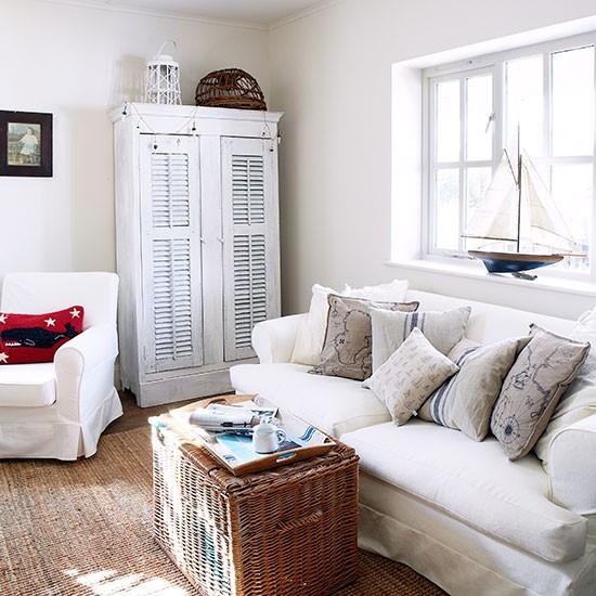 White Coastal Style Living Room Living Room Decorating