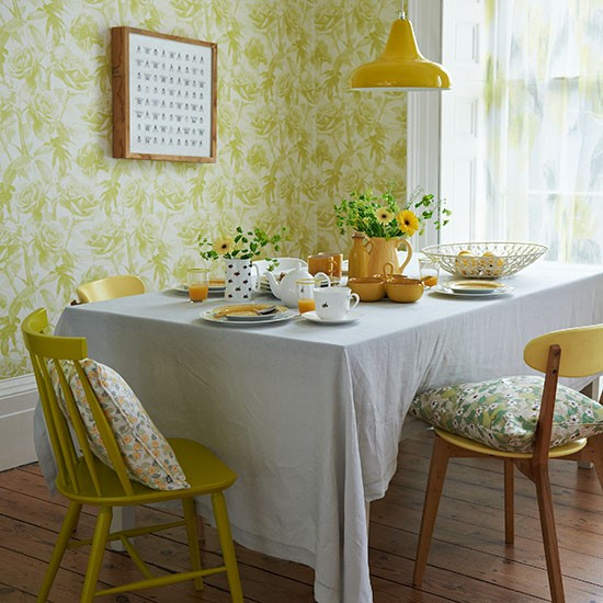 Vintage Dining Rooms: Yellow Retro Dining Room With Floral Wallpaper