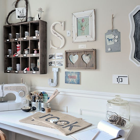 Craft Room With Country Charm And Wall Decorations