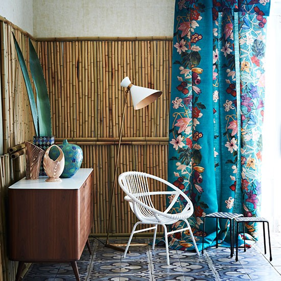 Hallway With Bamboo Wall Panels And Blue Curtain Hallway