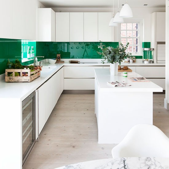 New Modern Kitchens At Neil Lerner: Glossy Green And White Kitchen
