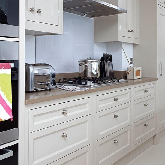 Cream Kitchen Cabinets Units: Pale Grey Shaker-style Kitchen With Cream Units