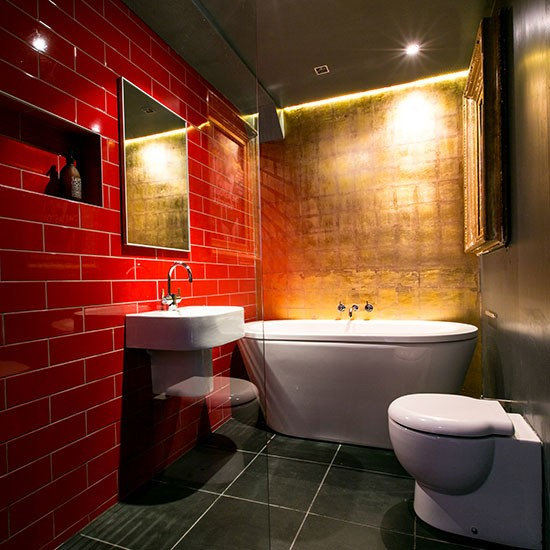 Dramatic Red And Gold Bathroom