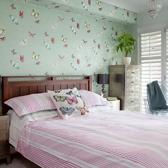 Pale Green And Pink Bedroom