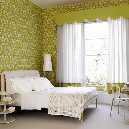 Light Green Bedroom Wallpaper New Bedroom Interior Design White Bedroom Armoire Bedroom Wallpaper Purple: Green Bedroom With Modern Floral Wallpaper