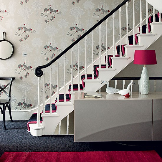 Classic Entrance Halls 10 Best: Pink And Blue Hallway With Large Print Wallpaper