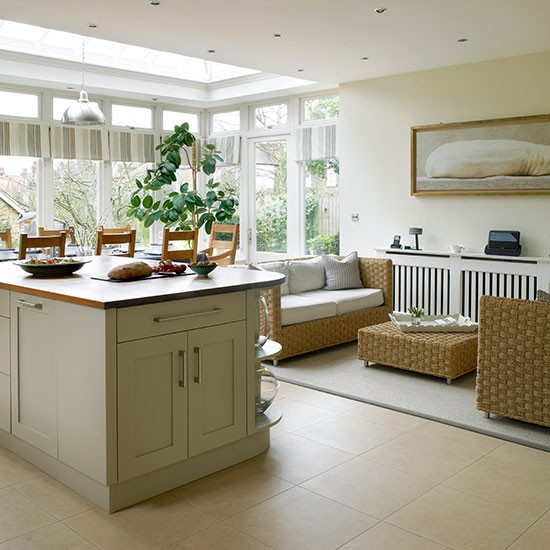 Beautiful Cream Living Room: Cream Kitchen With Living And Dining Areas