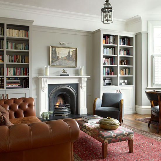 Classic Living Room Ideas: Grey Living Room With Leather Seating