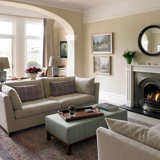 Traditional Cream Living Room With Arch