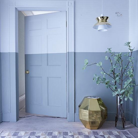 Hallway With Bold Blue Painted Stripe Hallway Decorating