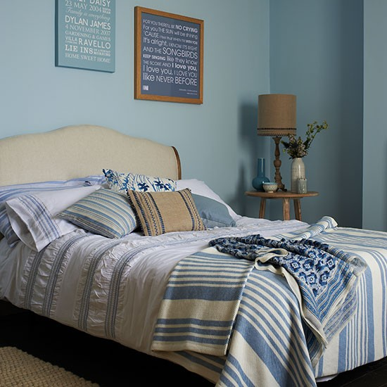 Blue Country Bedroom With Striped Bedding Bedroom