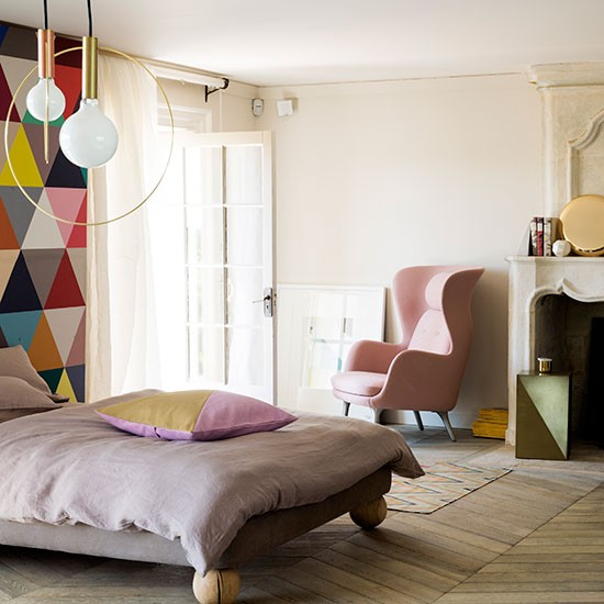 modern pastel bedroom with geometric feature wall. Black Bedroom Furniture Sets. Home Design Ideas