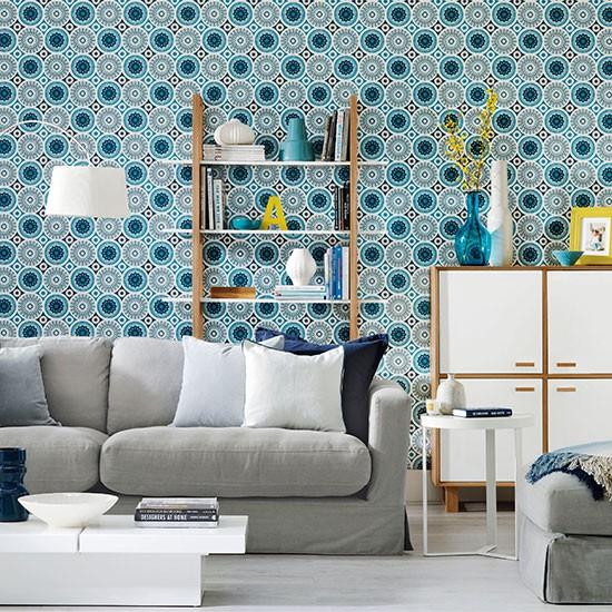 Wallpaper For Living Room: Living Room With Patterned Wallpaper