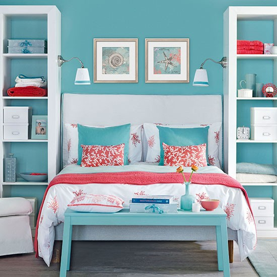 Aqua And Pink Bedroom Ideas: Blue Bedroom With Pink Coral Accents