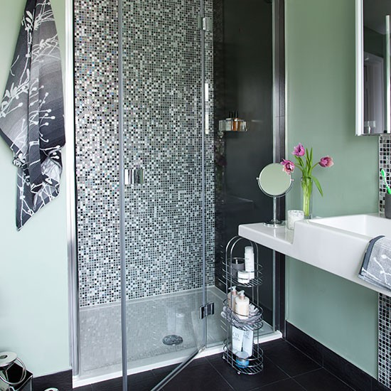Green Home Bathroom: Green Bathroom With Mosaic Tile Shower