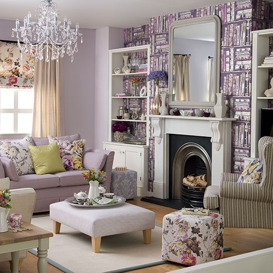 Purple Living Room Ideas: Purple Living Room With Library-print Wallpaper