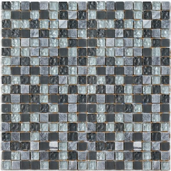 lush slate grey mix glass mosaic tile by tons of tiles. Black Bedroom Furniture Sets. Home Design Ideas