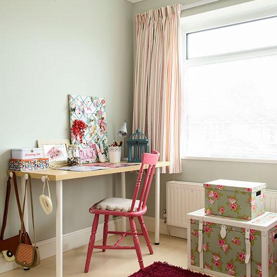 Green Kids Room: Pale Green Girl's Bedroom With Desk