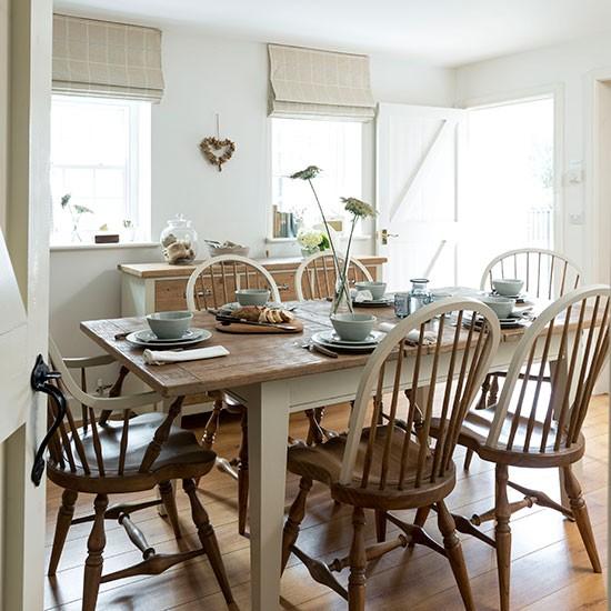 Cream And Wood Floor Dining Room