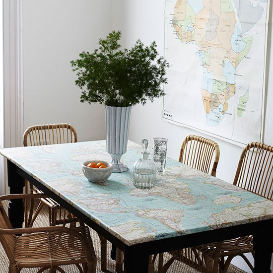 Dining Room Tablecloths: Dining Room With Map-print Tablecloth