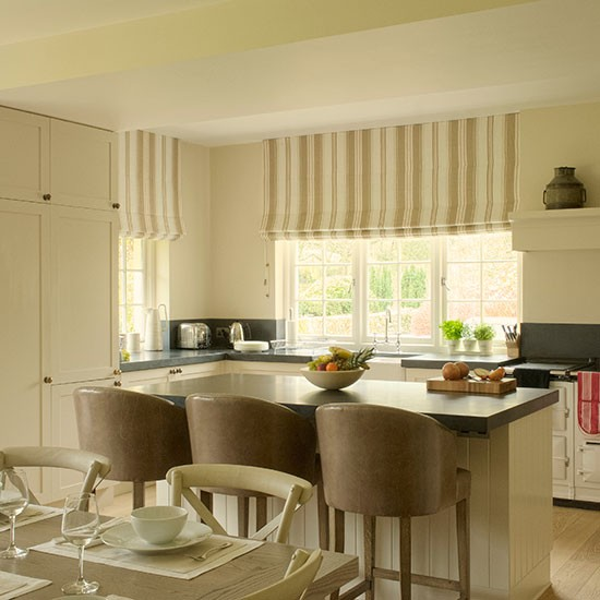 Cream Kitchen Diner With Leather Bar Stools Kitchen