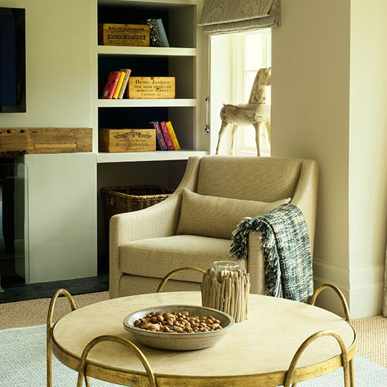 Living Room With Alcove Shelving