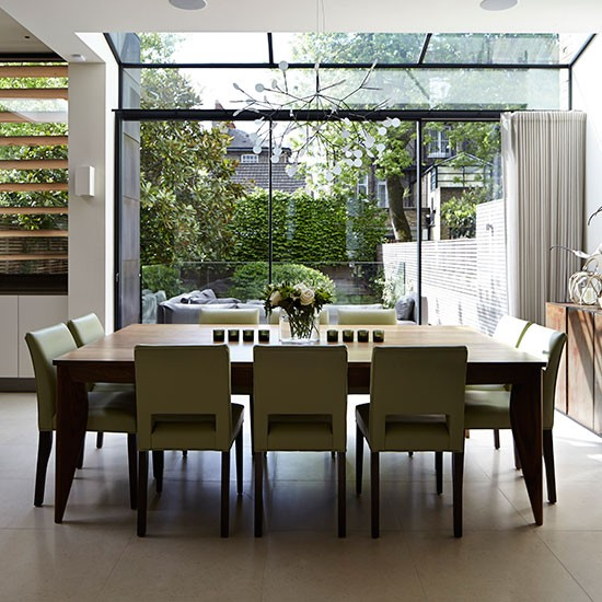 Open Dining Room: Open Plan Dining Room With Glass Doors