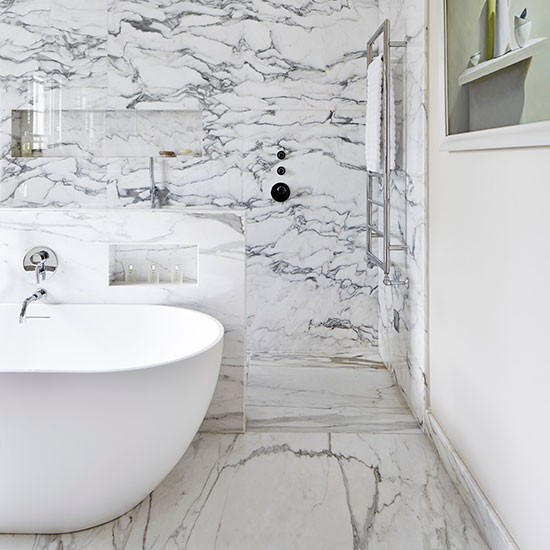 Spa Look Bathrooms: White Bathroom With Marble-lined Shower