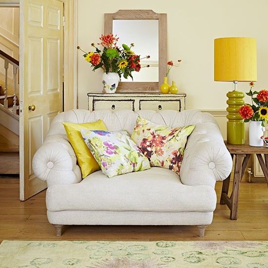 Yellow Living Room: Pale Yellow Living Room With Floral Cushions
