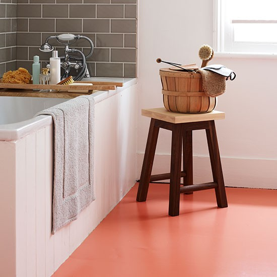 Bathroom With Orange Vinyl Flooring